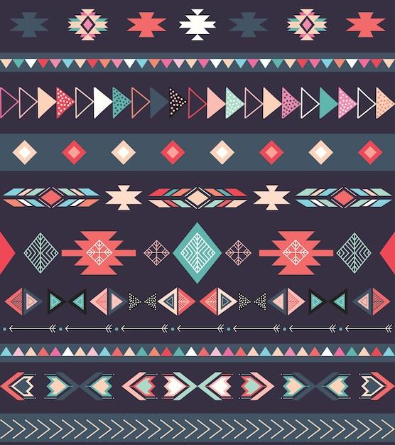Azteeks stammenpatroon met geometrische vormen Premium Vector