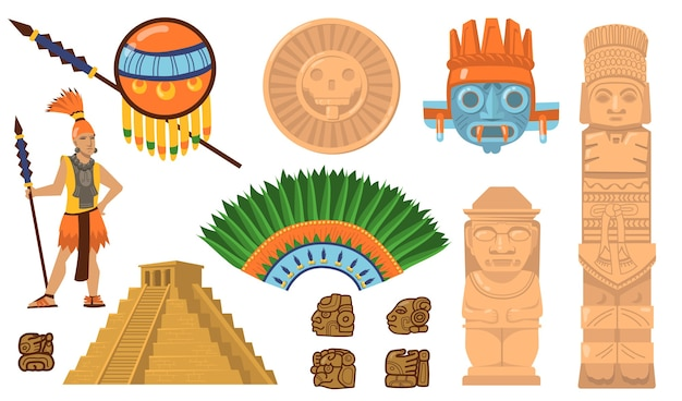 Azteekse en maya-symbolen ingesteld. oude piramide, inca-krijger, etnische maskers, goden en afgodsartefacten. platte vectorillustraties voor mexicaanse cultuur, traditionele decoraties concept Gratis Vector