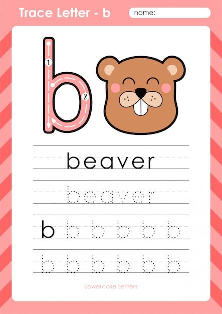 B bever: alfabet az werkblad voor overtrekken - oefeningen voor kinderen Premium Vector