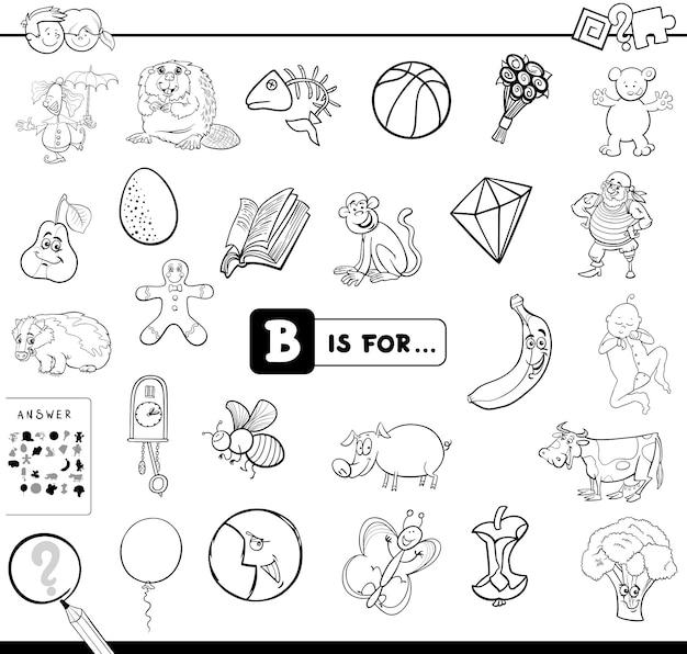 B is voor educatief spelboek Premium Vector