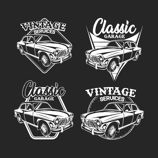 B & w van b & w vintage auto embleem op donker Premium Vector