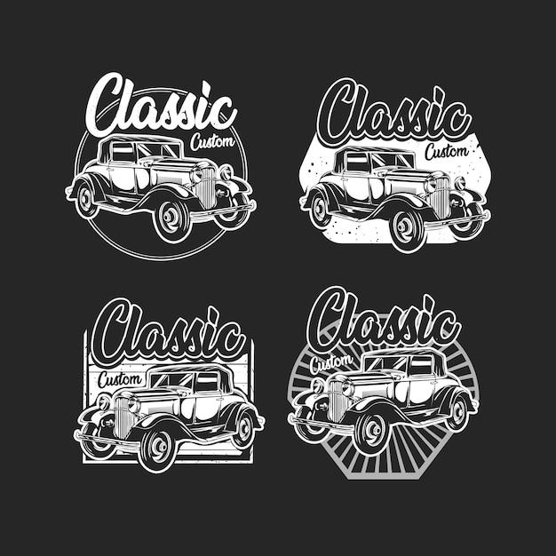 B & wof b & w klassieke auto met embleem op maat Premium Vector