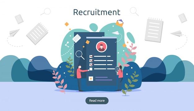 Baan aannemen en online rekruteringsconcept met het karakter van kleine mensen. selecteer een cv-proces. Premium Vector