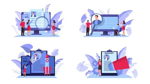 Baan kandidaat concept set. idee van werk en sollicitatiegesprek. wervingsmanager zoeken. illustratie in cartoon-stijl Premium Vector