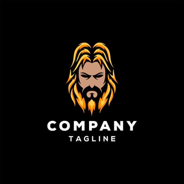 Baard logo ontwerp Premium Vector