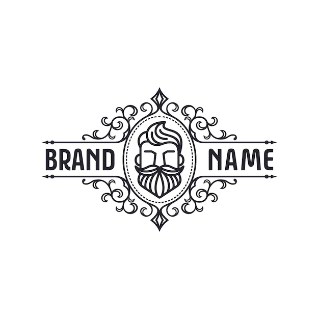 Baard logo sjabloon Premium Vector