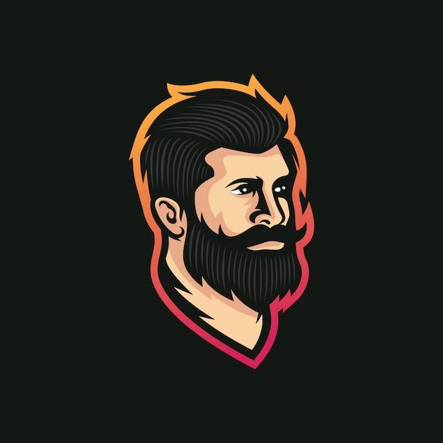 Baard man kapper winkel logo vectorillustratie Premium Vector