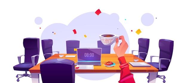 Baas op kantoor werkplek in ochtend uitzicht vanaf eerste persoon, zakenman met koffiekopje zittend aan tafel met laptop en fauteuils rond Gratis Vector