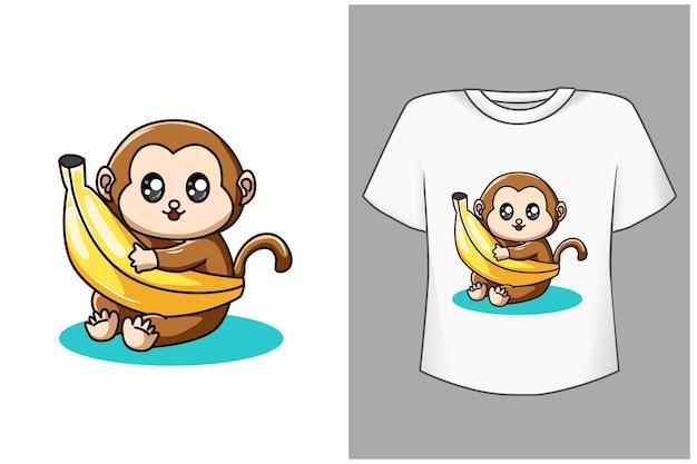 Baby aap en banaan cartoon afbeelding Premium Vector