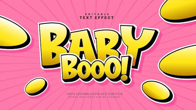 Baby boo-tekststijleffect Gratis Vector