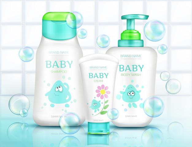 Baby-cosmetica-flessen voor kinderen Gratis Vector