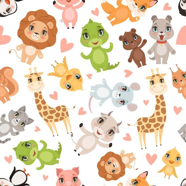 Baby dieren patroon. stof gedrukt naadloze safari wilde dieren krokodil giraf leeuw cartoon achtergrond Premium Vector