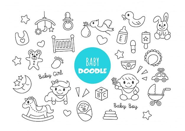 Baby doodle Premium Vector