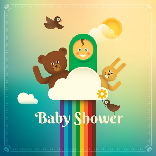 Baby douche illustratie Premium Vector