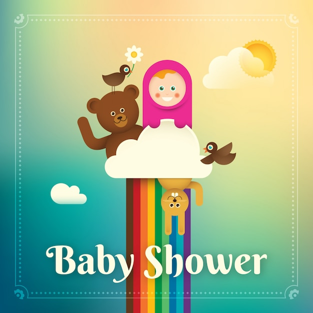 Baby douche illustratie Premium Vector