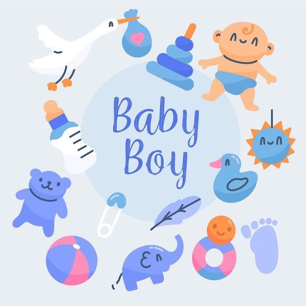 Baby douche jongen behang met speelgoed Gratis Vector