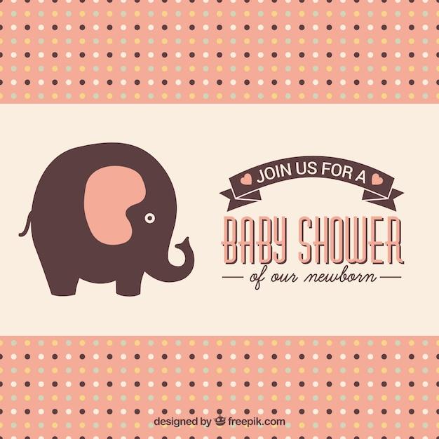 Baby douche kaart met schattige olifant vector gratis download - Baby douche ...
