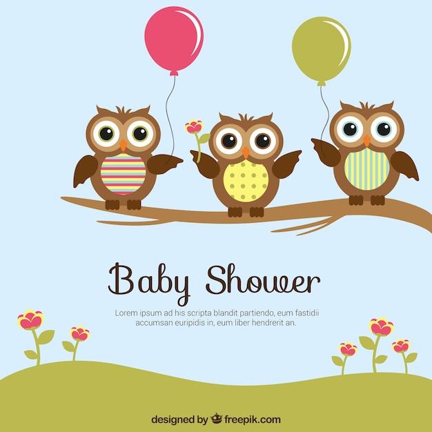 Baby douche kaart met schattige uilen vector gratis download - Baby douche ...