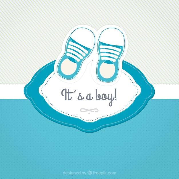 Baby douche kaart met schoenen vector gratis download - Baby douche ...