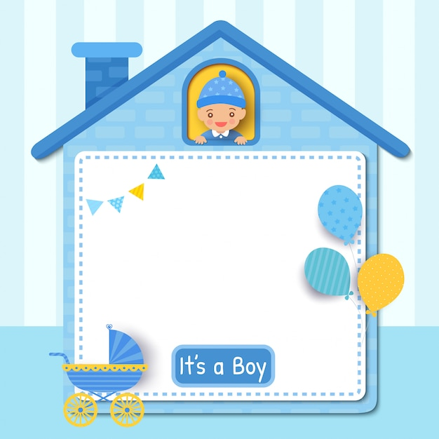 Baby douche kaart ontwerp met kleine jongen op schattig huis frame versierd met ballonnen voor feest Premium Vector