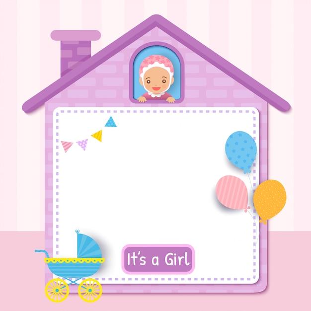 Baby douche kaart ontwerp met meisje op schattig huis frame versierd met ballonnen voor feest Premium Vector