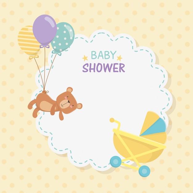 Baby douche kant kaart met kleine beer teddy en ballonnen helium Gratis Vector