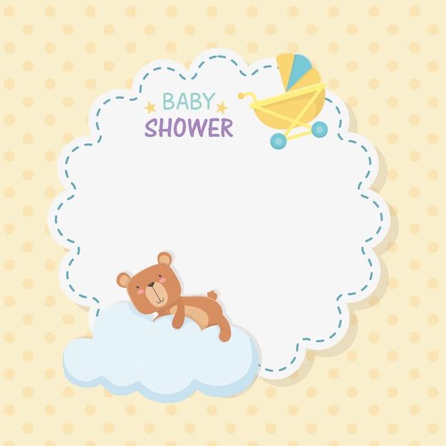 Baby douche kant kaart met kleine beer teddy Gratis Vector