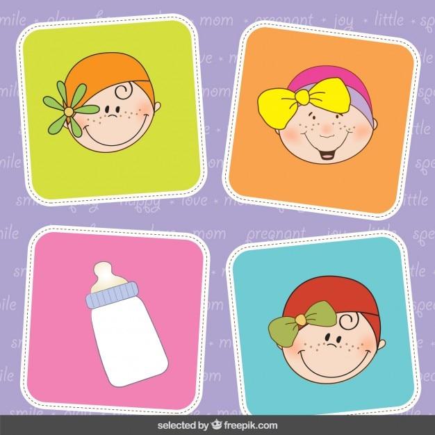 Baby douche leuke stickers vector gratis download - Baby douche ...
