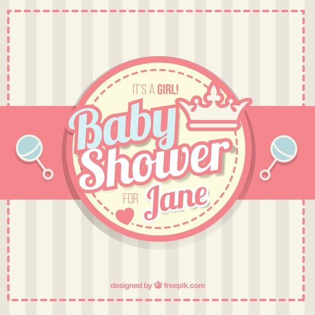 Baby douche met ratels achtergrond vector gratis download - Baby douche ...