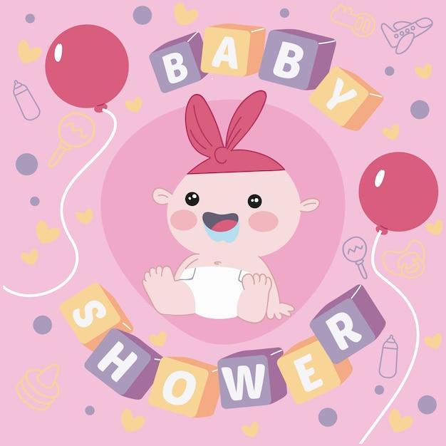 Baby douche thematisch concept voor meisje Gratis Vector