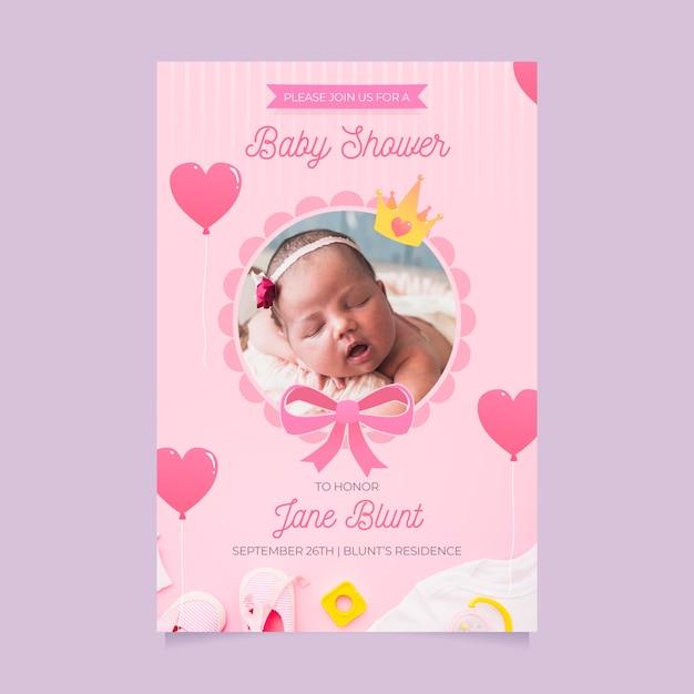Baby douche uitnodiging sjabloon voor meisje concept Gratis Vector