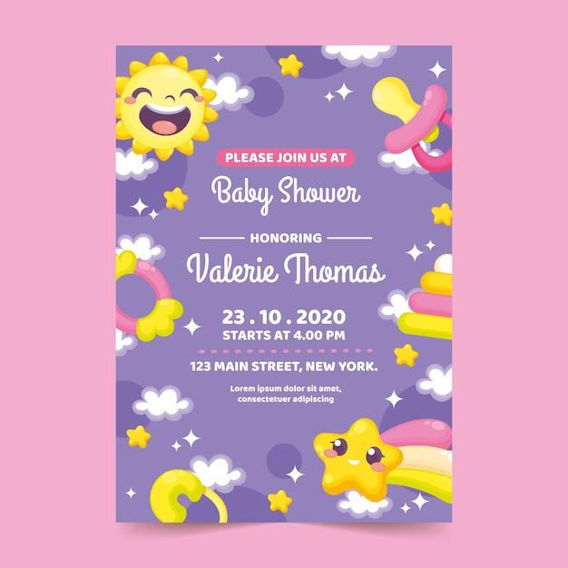 Baby douche uitnodiging sjabloon Gratis Vector