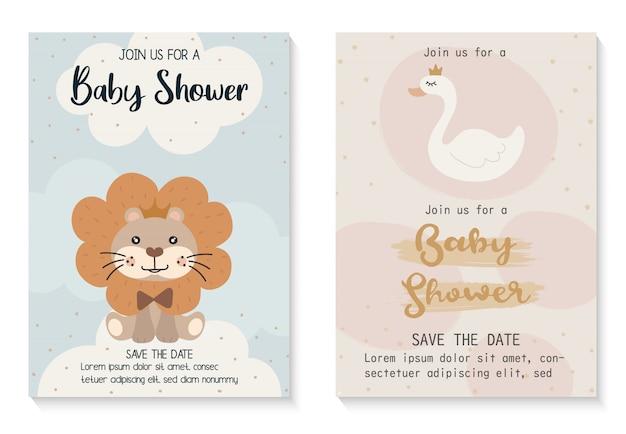Baby douche uitnodigingskaart ontwerpsjabloon. Premium Vector