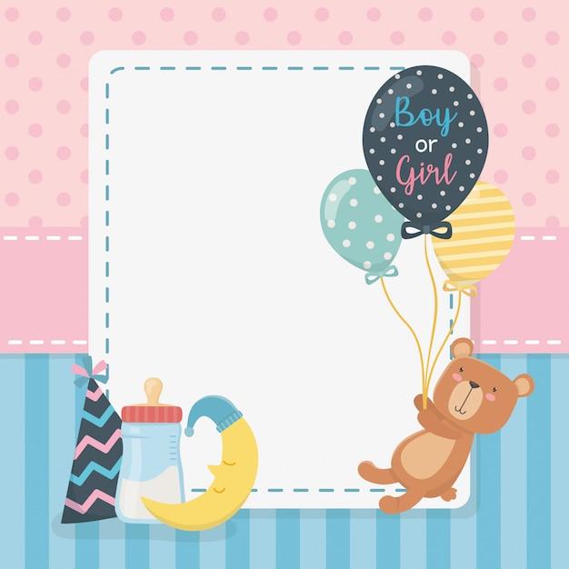 Baby douchekaart met kleine beer teddy en ballonnen helium Gratis Vector