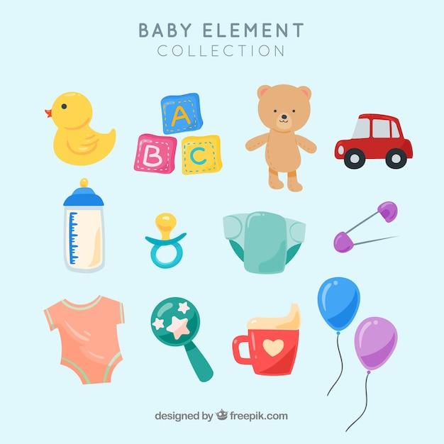 Baby-elementencollectie met plat ontwerp Gratis Vector
