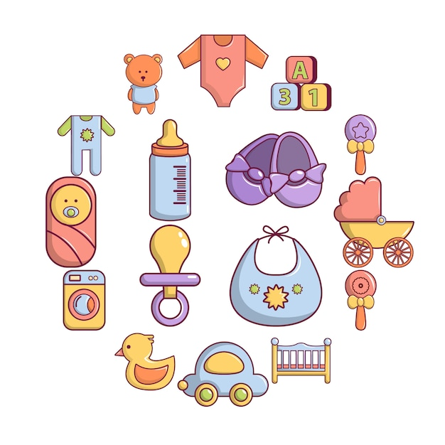 Baby geboren icon set, cartoon stijl Premium Vector