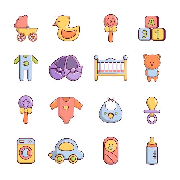 Baby geboren pictogrammen instellen Premium Vector