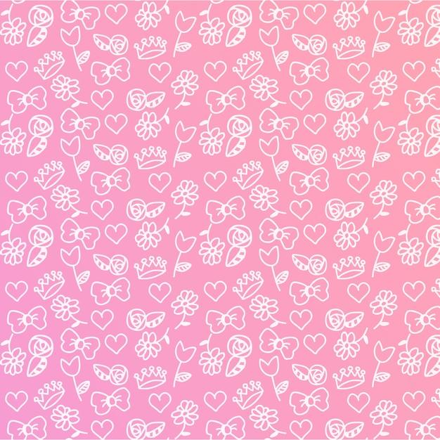 Baby girl bewerkbare pattern Gratis Vector