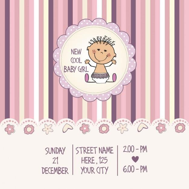 Baby girl douche kaart vector gratis download - Baby douche ...