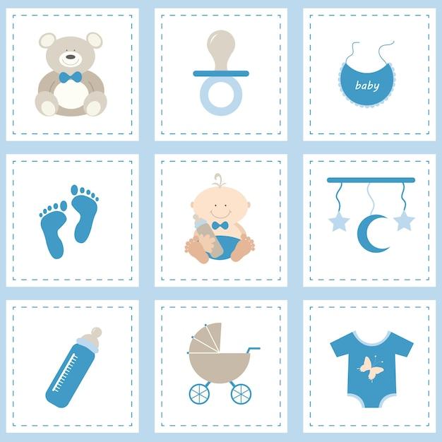 Baby icon set voor jongen Gratis Vector