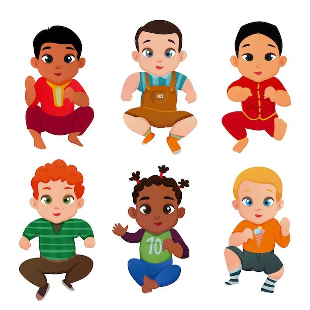 Baby internationale set Gratis Vector