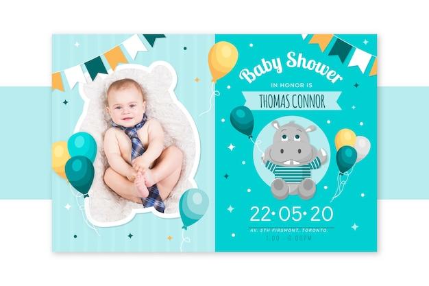 Baby jongen douche uitnodiging sjabloon aankondiging Gratis Vector