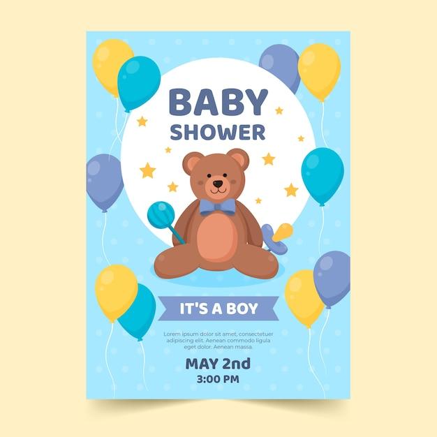 Baby jongen douche uitnodiging sjabloon thema Gratis Vector