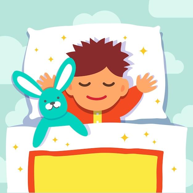 Baby jongen slapen met zijn konijn speelgoed vector for Baby op zij slapen kussen