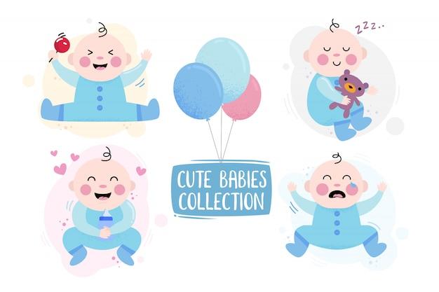 Baby karakter blij, huilen en spelen met beer Premium Vector
