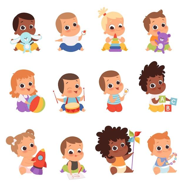 Baby karakters. pasgeboren kinderen spelen speelgoed gelukkige jeugd kleine kleintje baby's. illustratie baby kind pasgeboren met teddy, peuter spelen Premium Vector