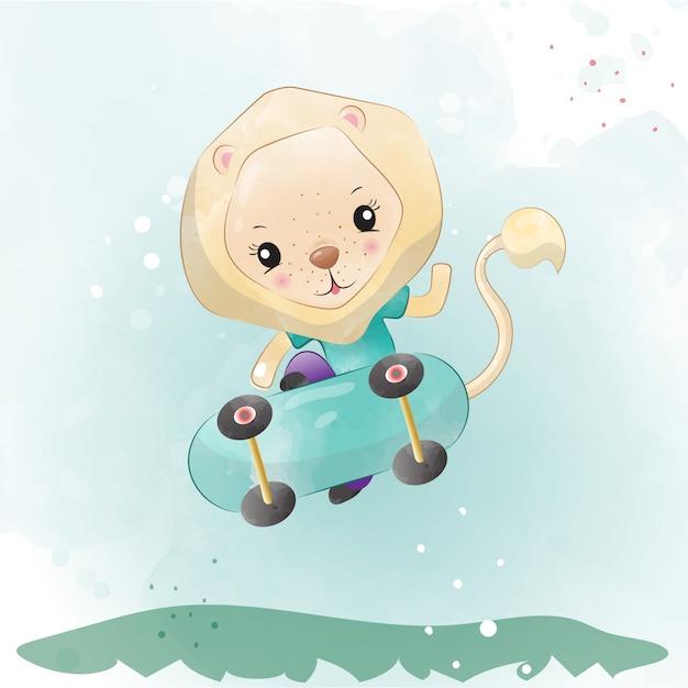 Baby leeuw schattig karakter geschilderd met waterverf Premium Vector