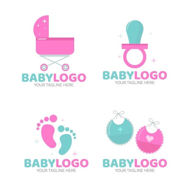 Baby logo sjablonen set Premium Vector