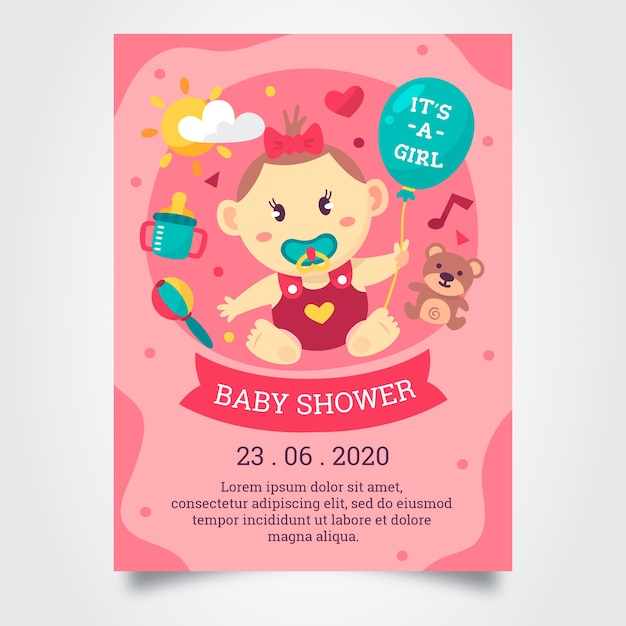 Baby meisje douche uitnodiging sjabloon Gratis Vector
