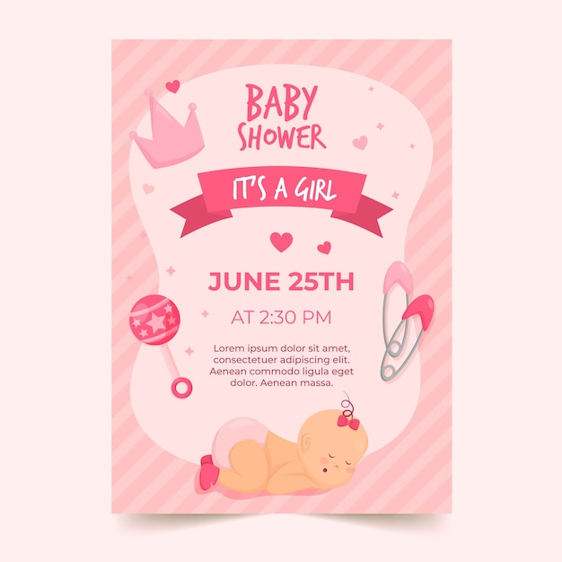 Baby meisje douche uitnodiging Gratis Vector